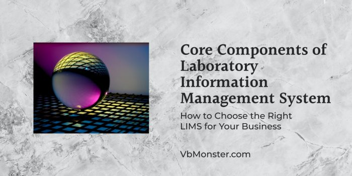 Core Components of Laboratory Information Management System is displayed on a marble background.