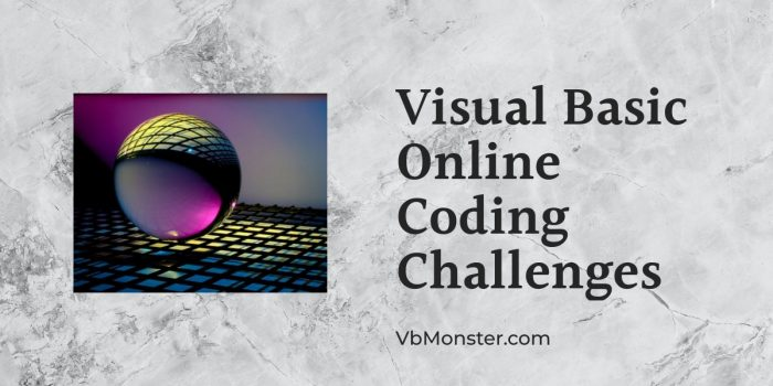 visual basic online coding challenges is displayed on a marble background.